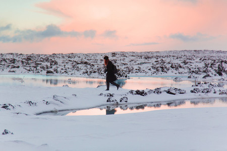 Sunset over blue lagoon Iceland