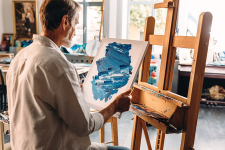 Back view of male painter