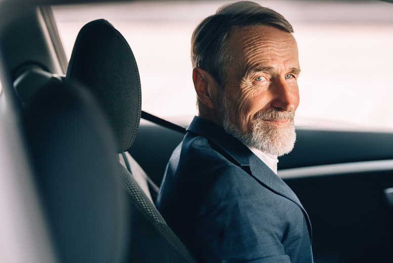 Side view of a man in car