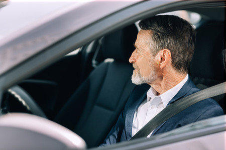 Side view of a bearded driver