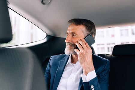 Mature businessman in car