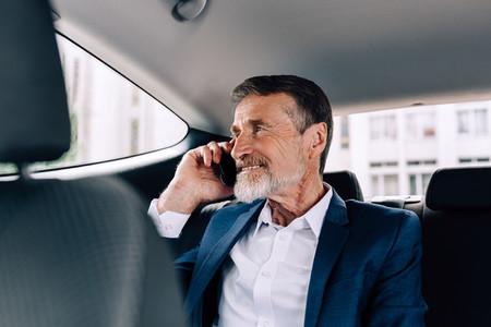 Smiling businessman talking