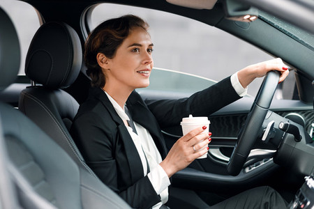 Businesswoman sitting in car