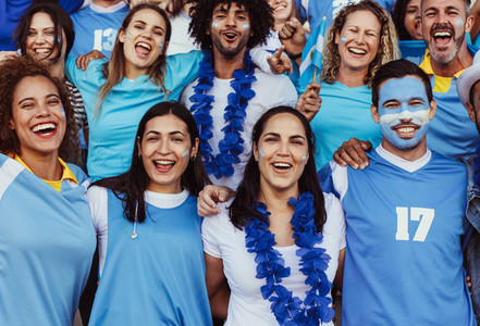 Excited Argentinian soccer supporters in stands