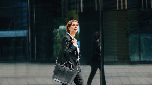 Side view of young businesswoman