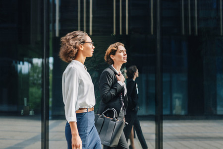 Two businesswomen walking
