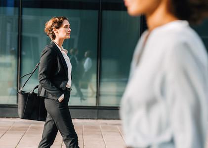 Businesswoman commuting