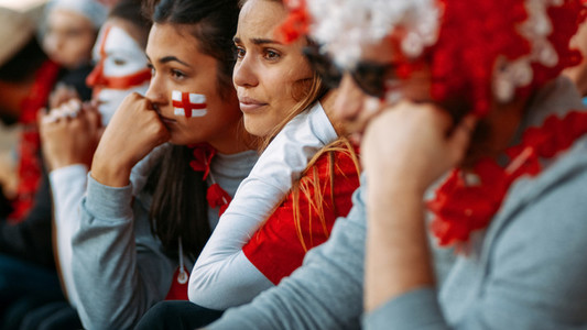 Upset English fans after defeat of their football team
