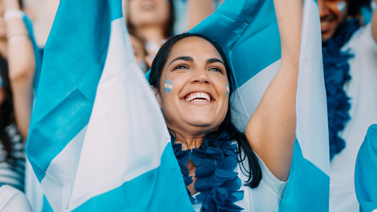 Argentinian football supporters cheering from stadium
