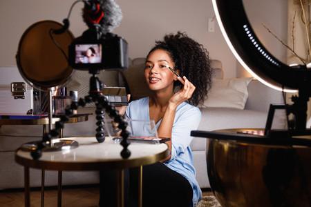 Female video blogger