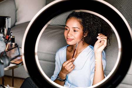 Makeup artist recording video