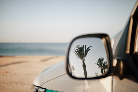 Reflection of palm trees in van outside mirror on the beach