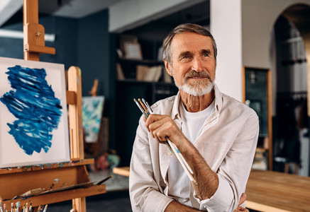 Portrait of a smiling artist