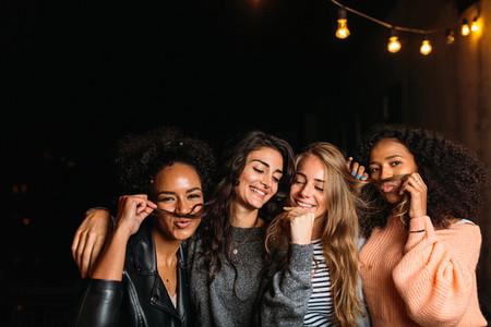 Night shot of young women