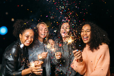 Outdoor shot of laughing friends