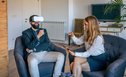 Businessman using virtual reality glasses