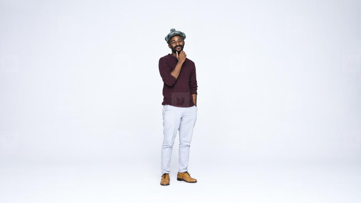 Smiling man in cap