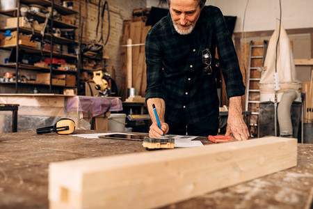 Male carpenter planning his work