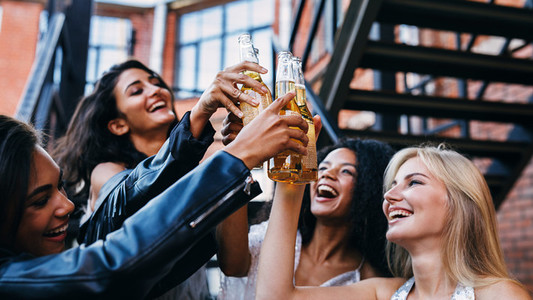 Group of female friends toasting