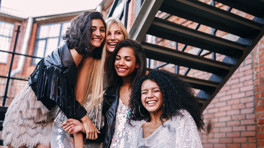Multi ethnic group of female