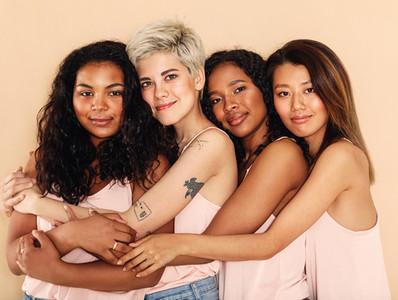 Studio shot of a group women