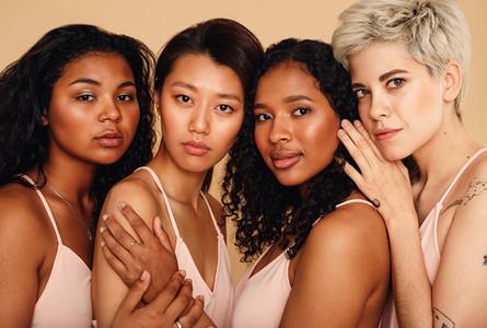 Studio portrait of a four women