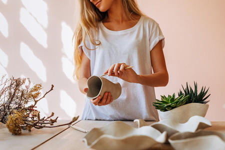 Young ceramic artist working