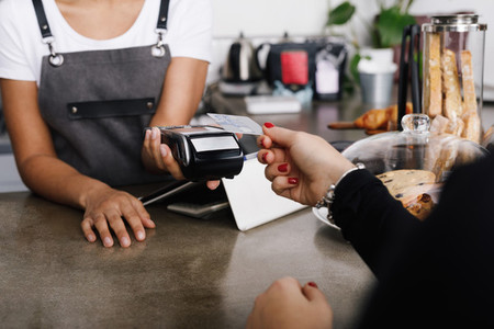 Customer making wireless payment
