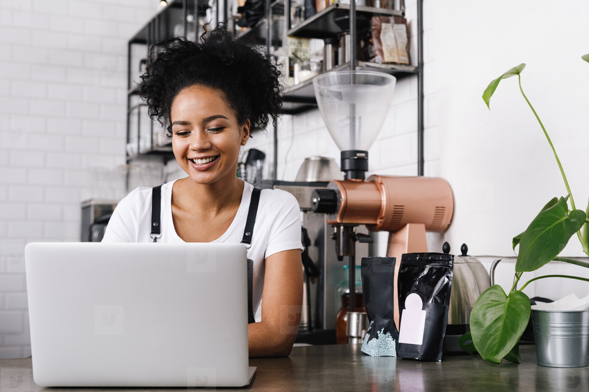 Young female cafe owner working