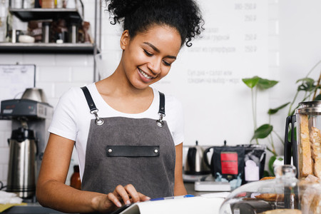 Smiling beautiful waitress