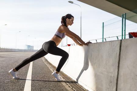 Female athlete doing stretching