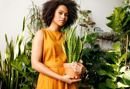 Beautiful plant shop owner