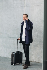 Traveler standing outdoors