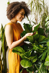 Side view of woman gardener
