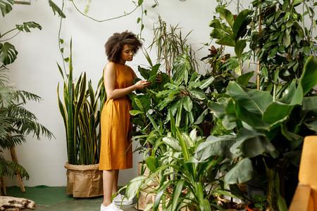 Beautiful woman botanist working