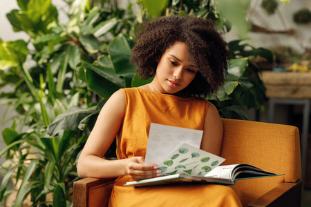 Woman botanist working