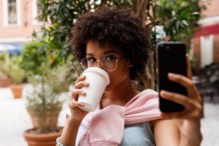 Female blogger taking a selfie