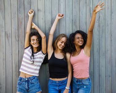 Three young women having fun