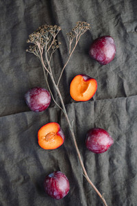 High angle view of fresh purple plum on a dark linen  Food photography still life
