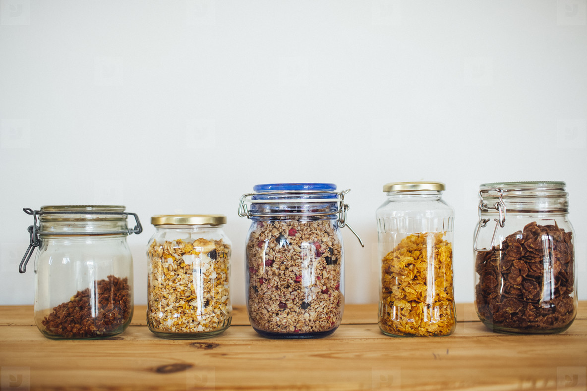 cereals and muesli in glass without packaging