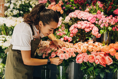 Young florist working