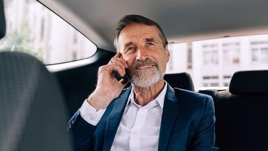 Smiling senior man talking