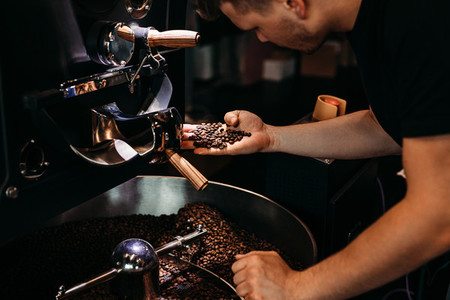 Man working at coffee production