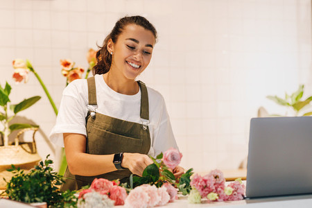 Smiling woman working