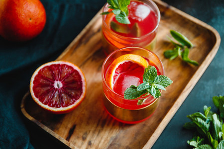 Summer cocktail with blood orange and mint