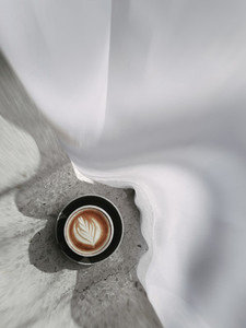 Top view of hot coffee cup