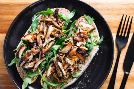 Top view of two vegan sandwiches with fresh arugula  fried shiitake mushroom and shallot onion
