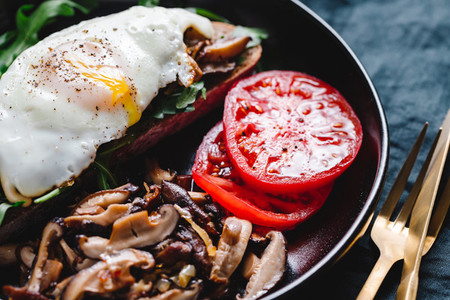 Sandwich with fresh arugula  fried shiitake mushroom  shallot onion  egg served with tomatoes