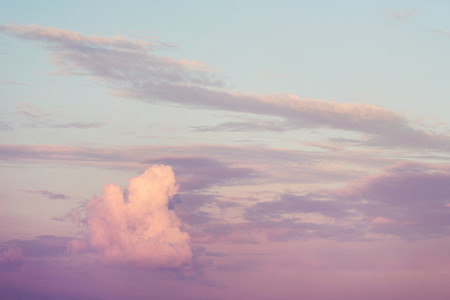 Sunset sky with beautiful clouds Pastel colors