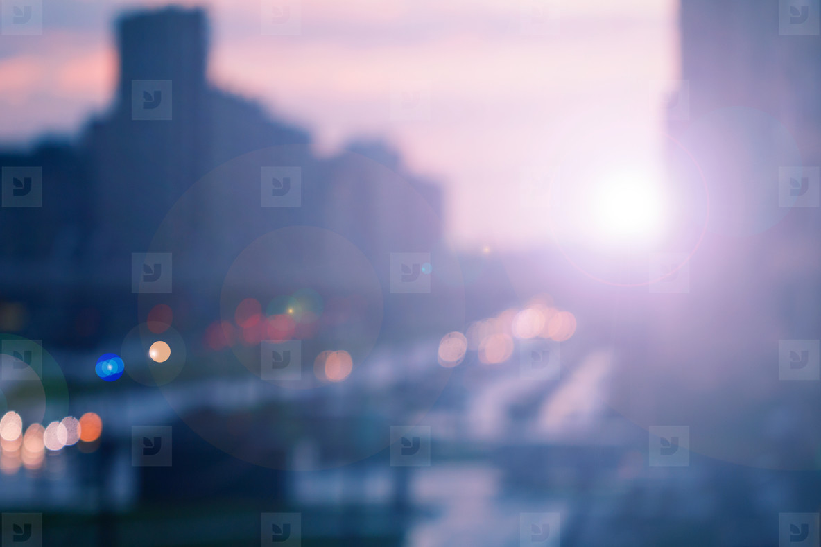 Blurred city background at night  Blue and pink colors